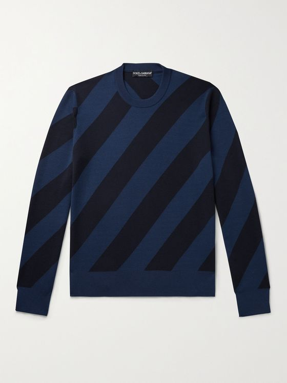 DOLCE & GABBANA Slim-Fit Striped Cashmere and Silk-Blend Sweater