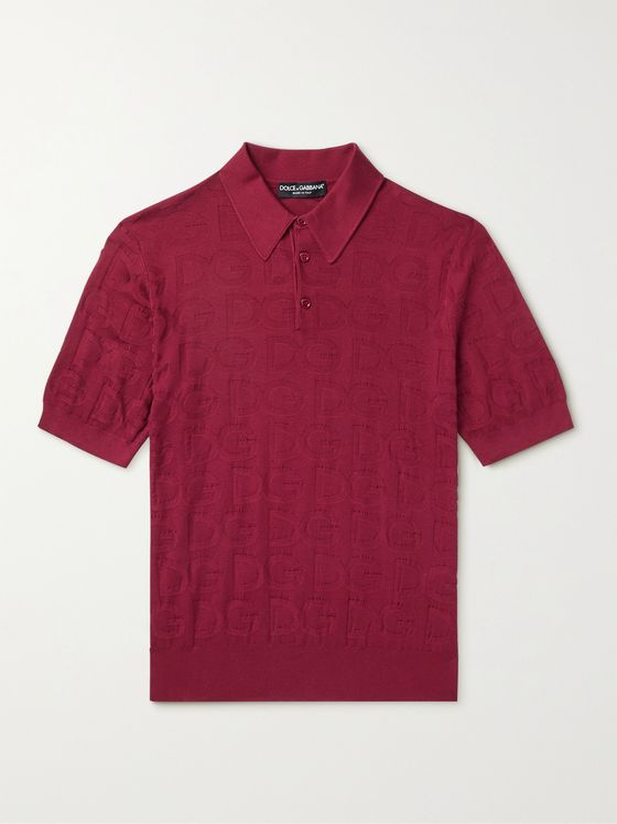 DOLCE & GABBANA Slim-Fit Logo-Jacquard Silk Polo Shirt