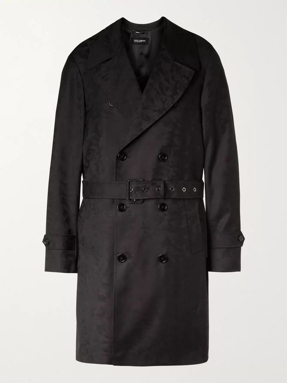 DOLCE & GABBANA Camouflage-Jacquard Virgin Wool-Twill Trench Coat