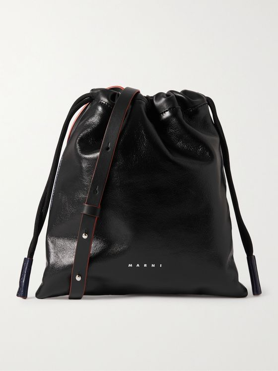 MARNI Colour-Block Leather Drawstring Bag
