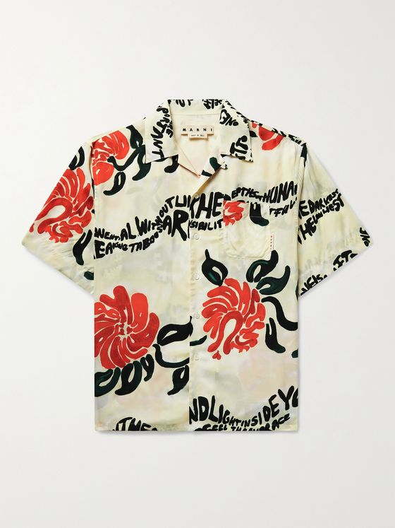 MARNI Printed Camp-Collar Satin Shirt