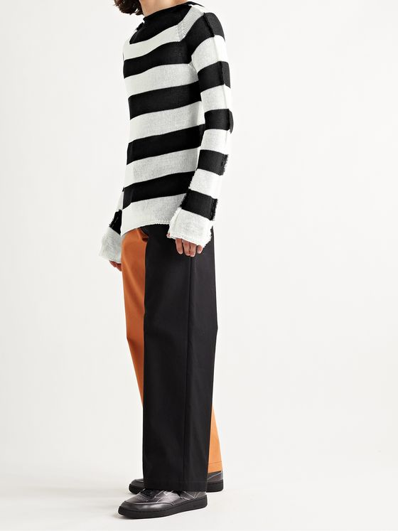 MARNI Slim-Fit Distressed Striped Open-Knit Cotton Sweater