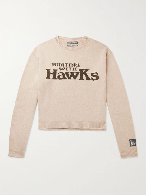 Reese Cooper® Cropped Hunting with Hawks Virgin Wool Intarsia Sweater