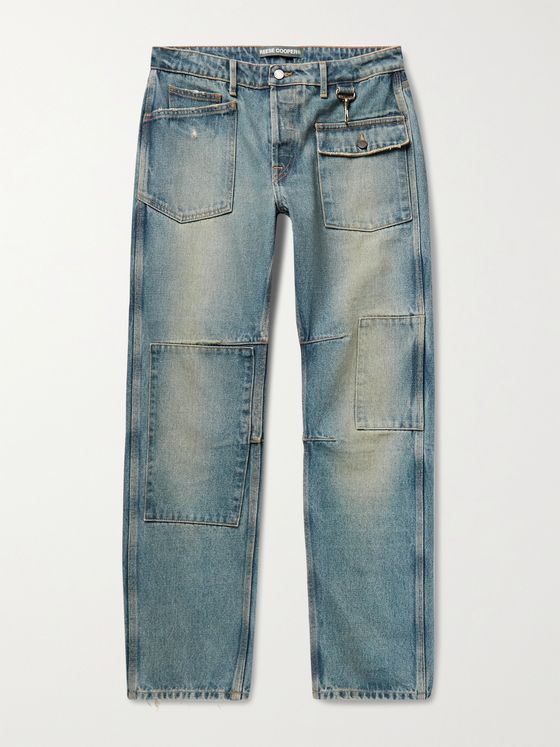 REESE COOPER® Patchwork Distressed Denim Jeans