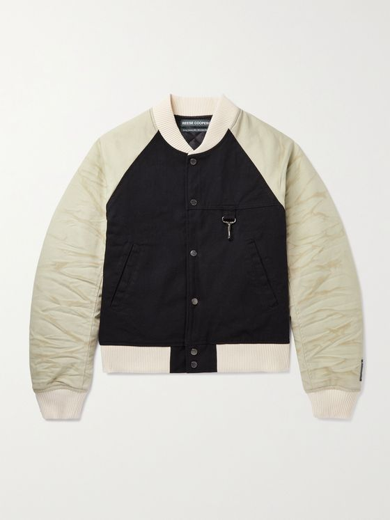 REESE COOPER® Panelled Distressed Cotton-Canvas Bomber Jacket