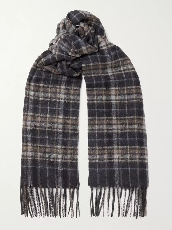 CANALI Fringed Checked Cashmere Scarf