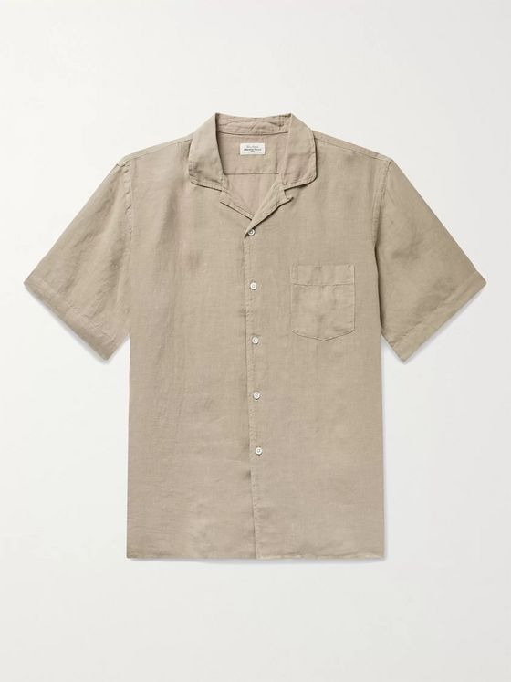 HARTFORD Camp-Collar Slub Linen Shirt