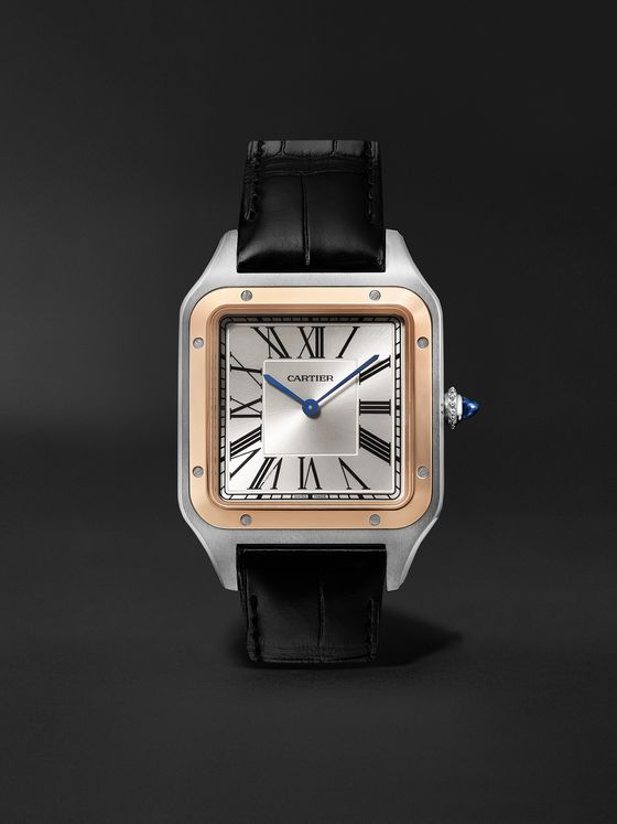 CARTIER Santos-Dumont Hand-Wound 33.9mm Extra Large 18-Karat Rose Gold, Steel and Alligator Watch, Ref. No. W2SA0017