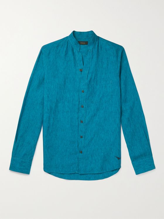 Sease Grandad-Collar Linen-Chambray Shirt