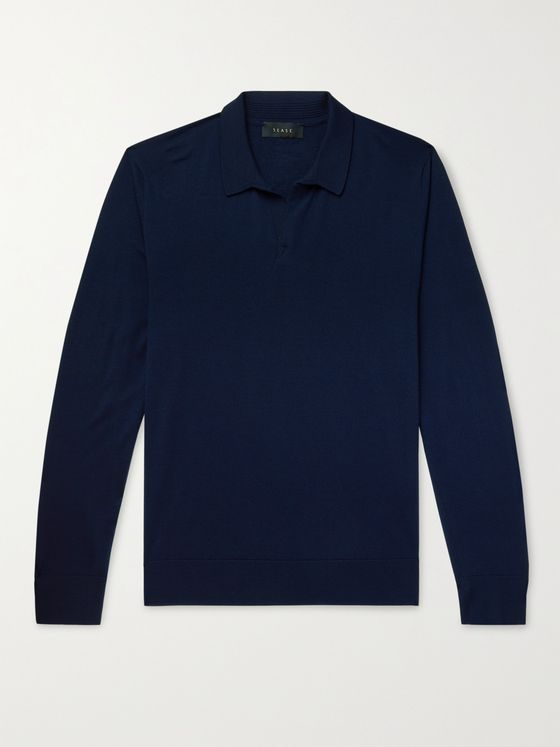 SEASE Lasca Slim-Fit Merino Wool Polo Shirt