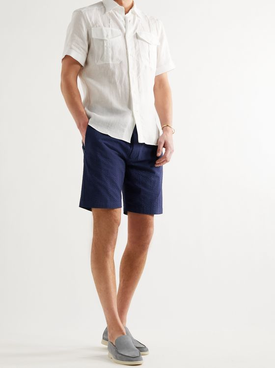 Sease Sunset Cotton-Seersucker Drawstring Shorts