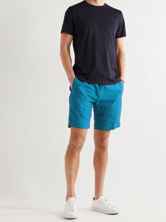 Sease Sunset Linen-Chambray Drawstring Shorts