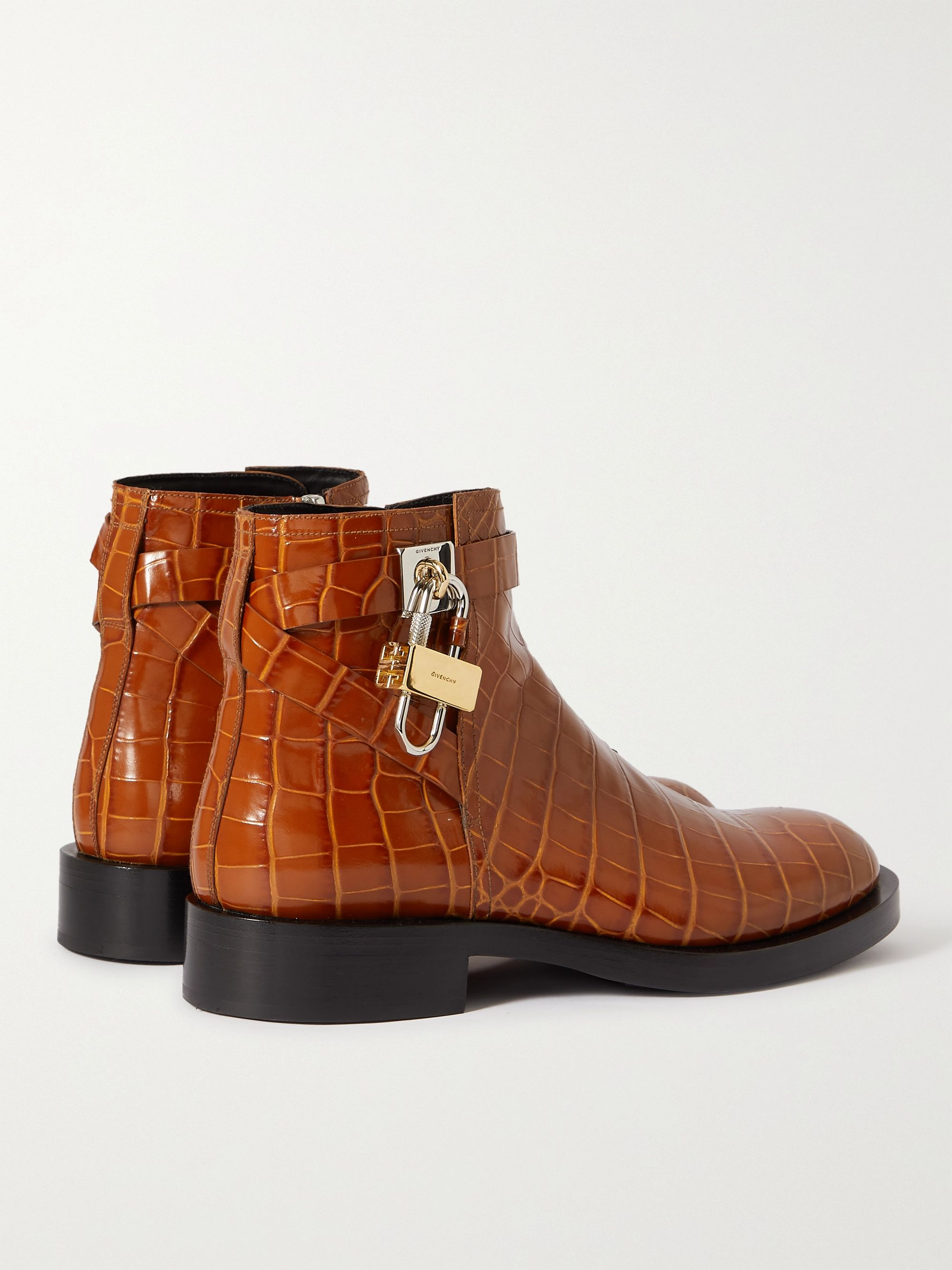 GIVENCHY Embellished Croc-Effect Leather Chelsea Boots