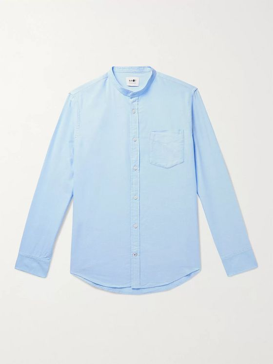 NN07 Justin Grandad-Collar Cotton Oxford Shirt