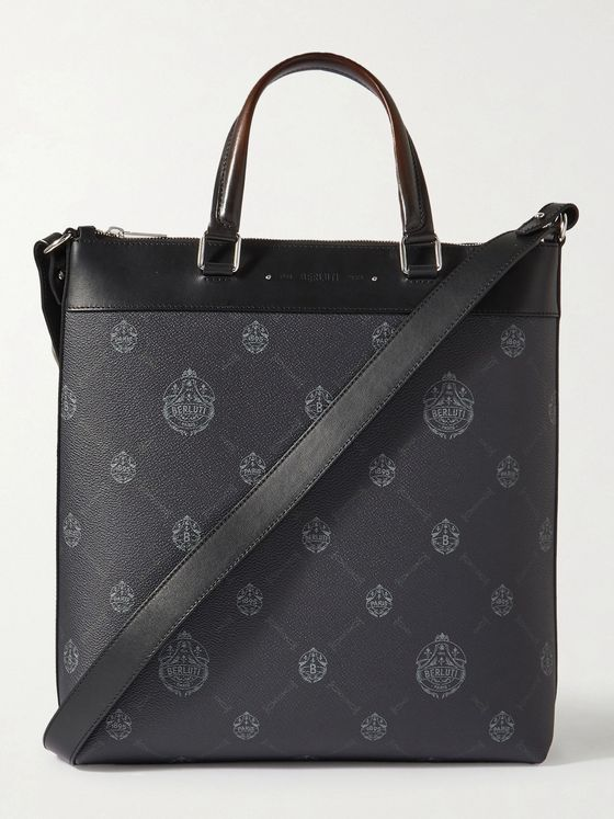 BERLUTI Passenger Leather-Trimmed Monogrammed Canvas Tote Bag