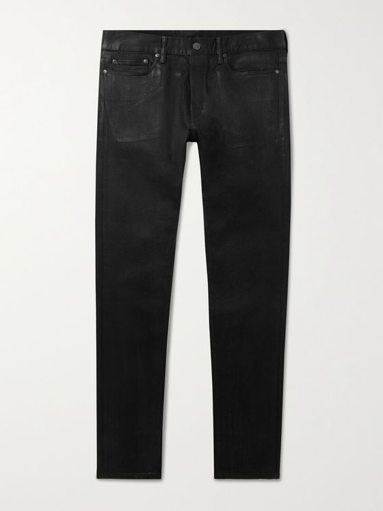 JOHN ELLIOTT The Cast 2 Slim-Fit Coated Stretch-Denim Jeans