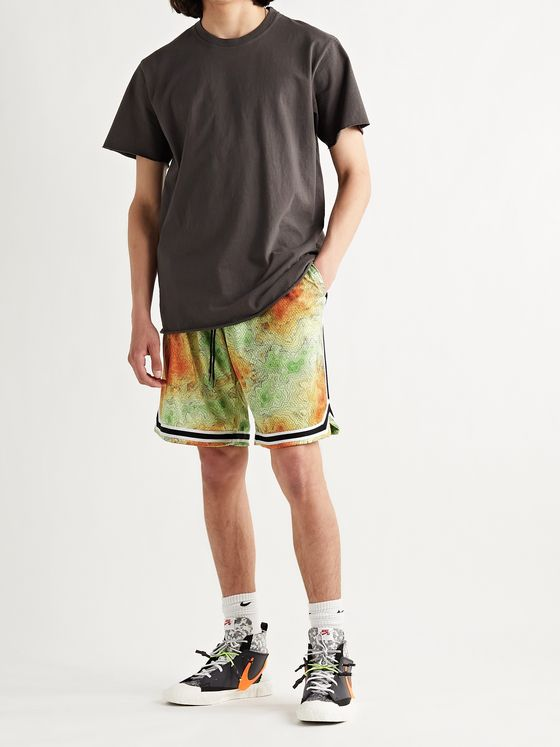 JOHN ELLIOTT Game Webbing-Trimmed Printed Mesh Shorts