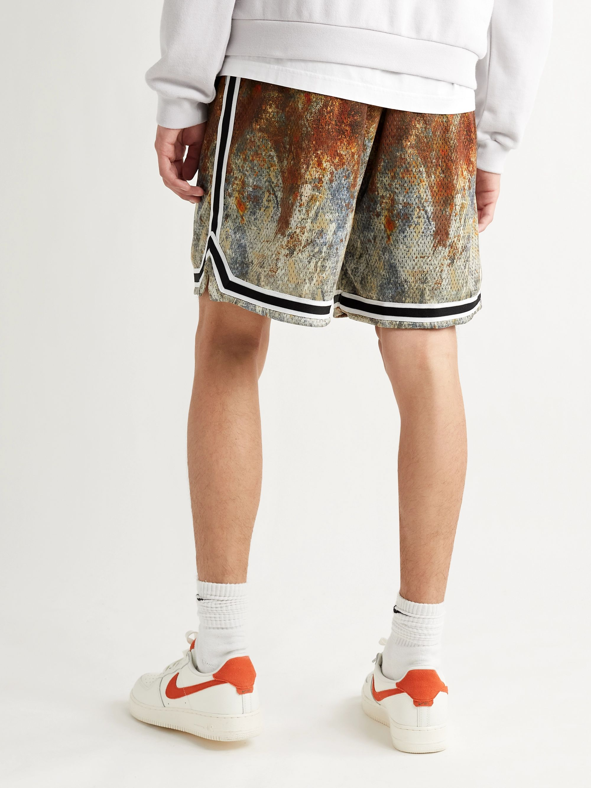 JOHN ELLIOTT Game Webbing-Trimmed Tie-Dyed Mesh Shorts
