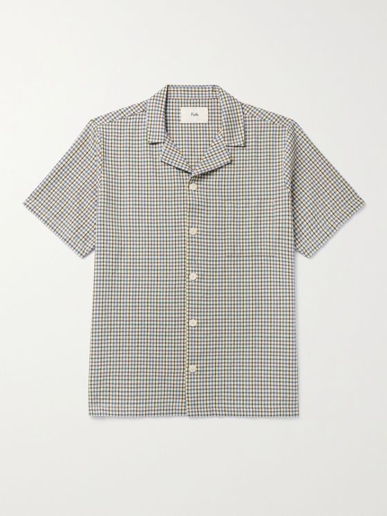 FOLK Camp-Collar Gingham Cotton Shirt