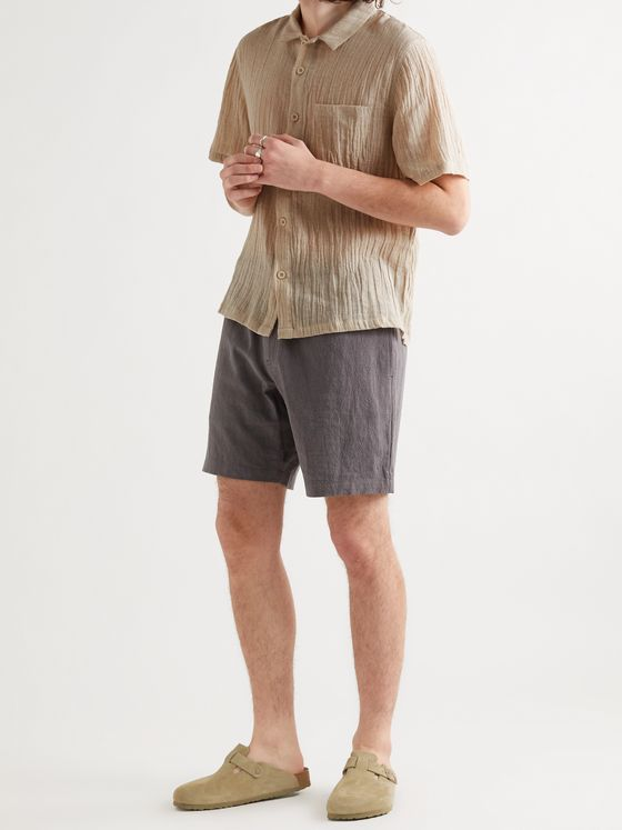 Satta Paseo Enzyme-Washed Crinkled Linen and Cotton-Blend Shirt