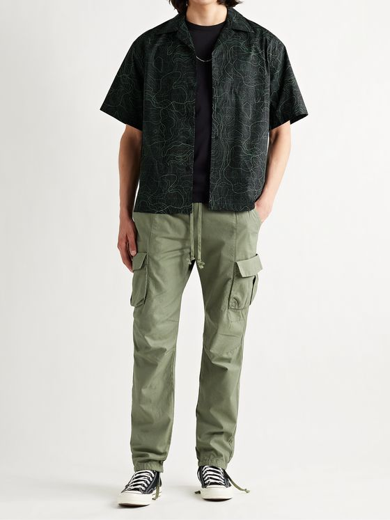 JOHN ELLIOTT Camp-Collar Printed Cotton-Poplin Shirt
