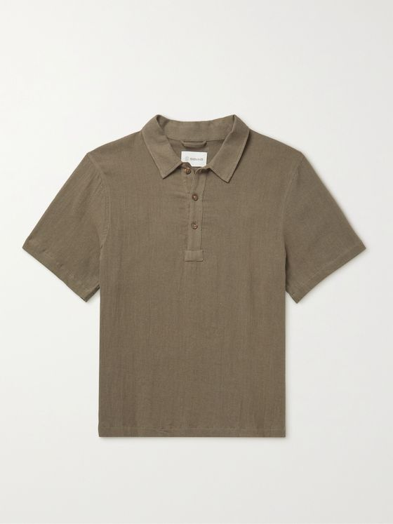 Satta Sabi Enzyme-Washed Linen and Cotton-Blend Gauze Polo Shirt