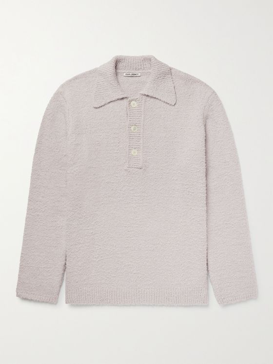 OUR LEGACY Big Piquet Brushed Knitted Cotton Polo Shirt