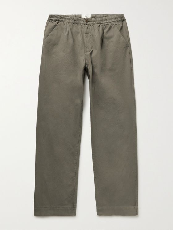 FOLK Loom Wide-Leg Garment-Dyed Cotton-Canvas Trousers