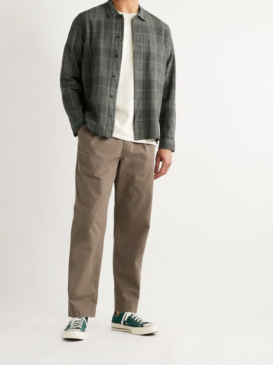FOLK Patch Checked Textured Cotton-Flannel Shirt