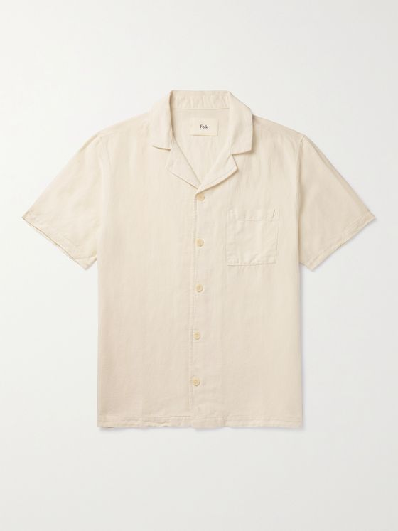 FOLK Camp-Collar Cotton Shirt