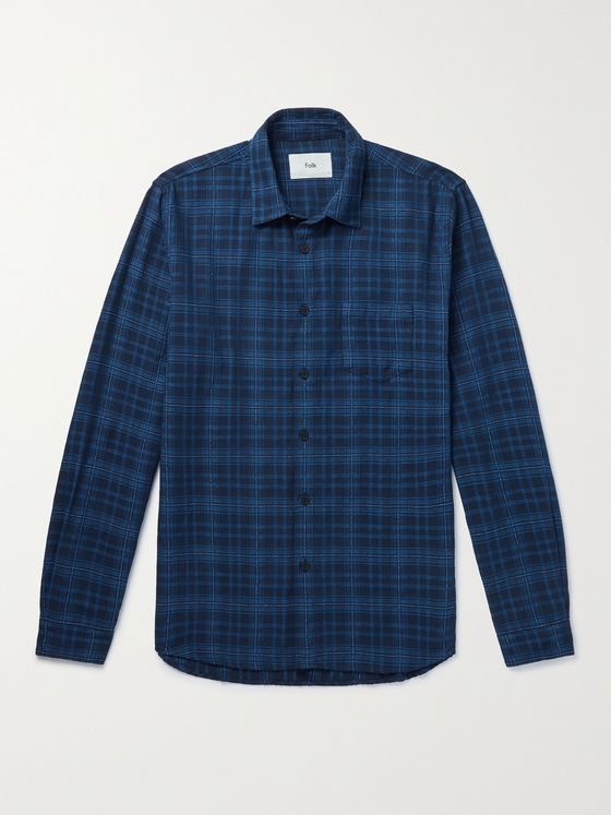FOLK Checked Cotton-Blend Bouclé Shirt