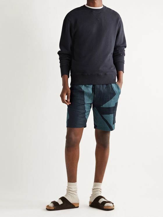 FOLK Assembly Printed Linen Drawstring Cargo Shorts