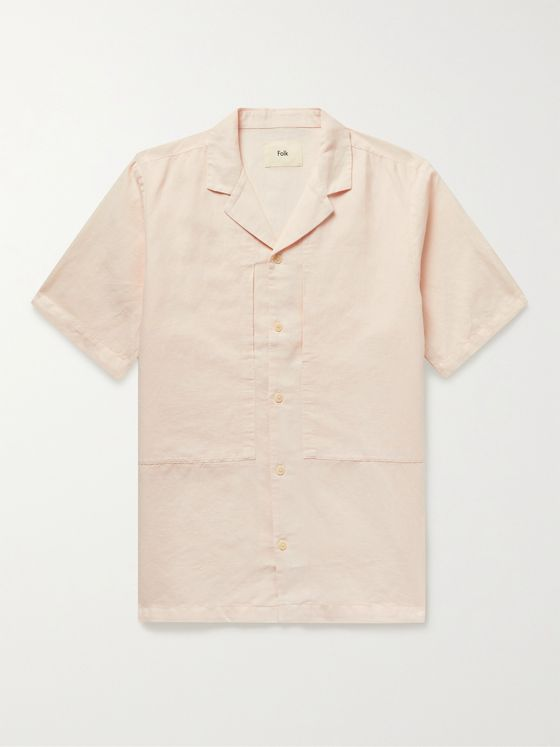 FOLK Junction Camp-Collar Linen and Cotton-Blend Shirt