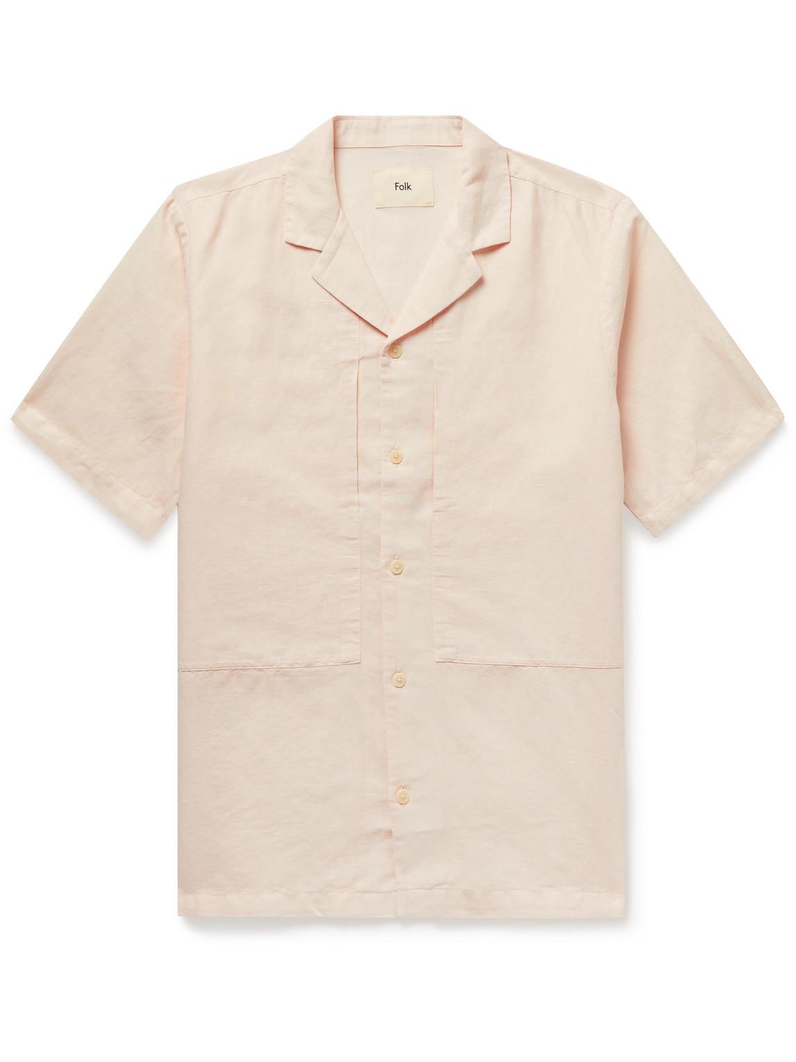 Folk Shirts JUNCTION CAMP-COLLAR LINEN AND COTTON-BLEND SHIRT