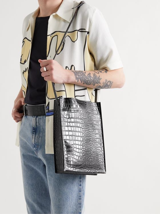 OUR LEGACY Croc-Effect Leather Tote Bag