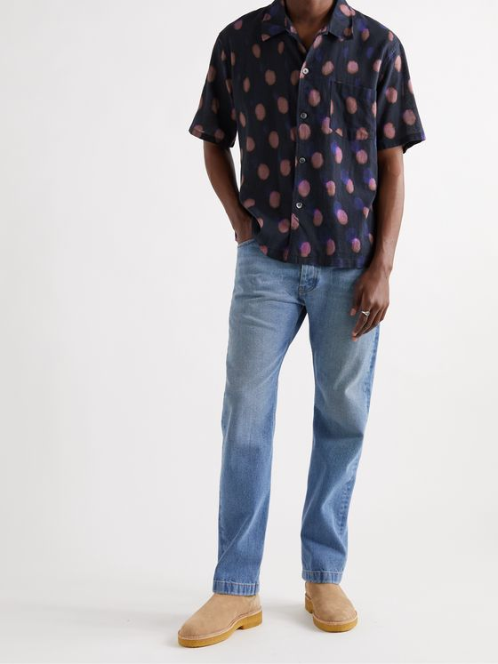 OUR LEGACY Box Printed Cotton and Linen-Blend Shirt