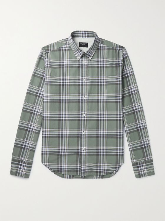 RAG & BONE Tomlin Button-Down Collar Checked Cotton-Twill Shirt