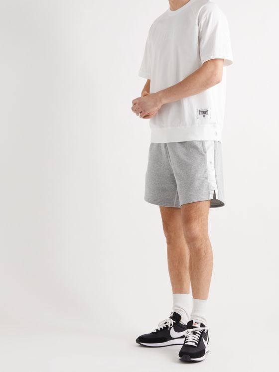 REIGNING CHAMP + Everlast Wide-Leg Striped Loopback Cotton-Blend Jersey Shorts