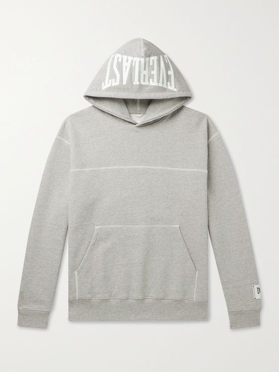 REIGNING CHAMP + Everlast Logo-Print Loopback Cotton-Blend Jersey Hoodie