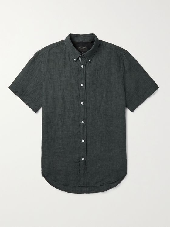 RAG & BONE Tomlin Slim-Fit Button-Down Collar Linen Shirt