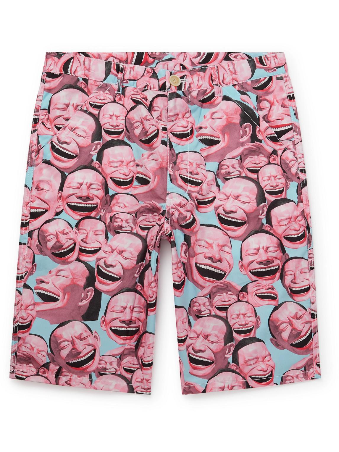 Comme Des Garçons Shirt Cottons YUE MINJUN PRINTED COTTON-POPLIN SHORTS