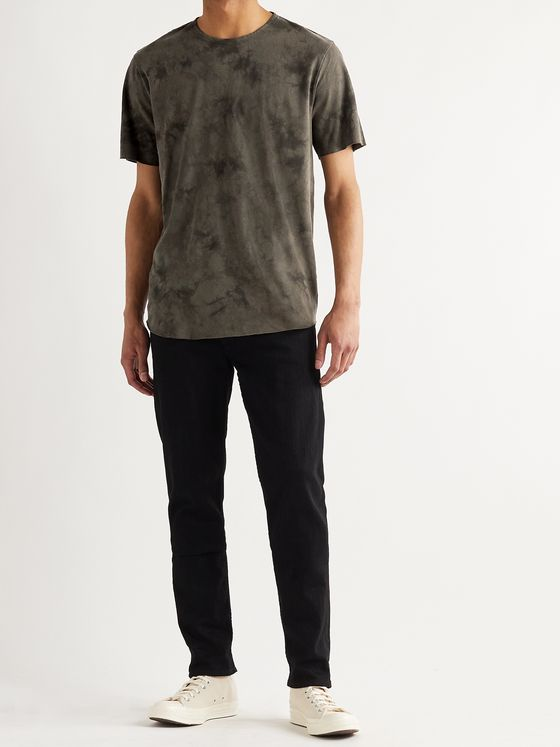 RAG & BONE Haydon Distressed Tie-Dyed Linen and Cotton-Blend Jersey T-Shirt