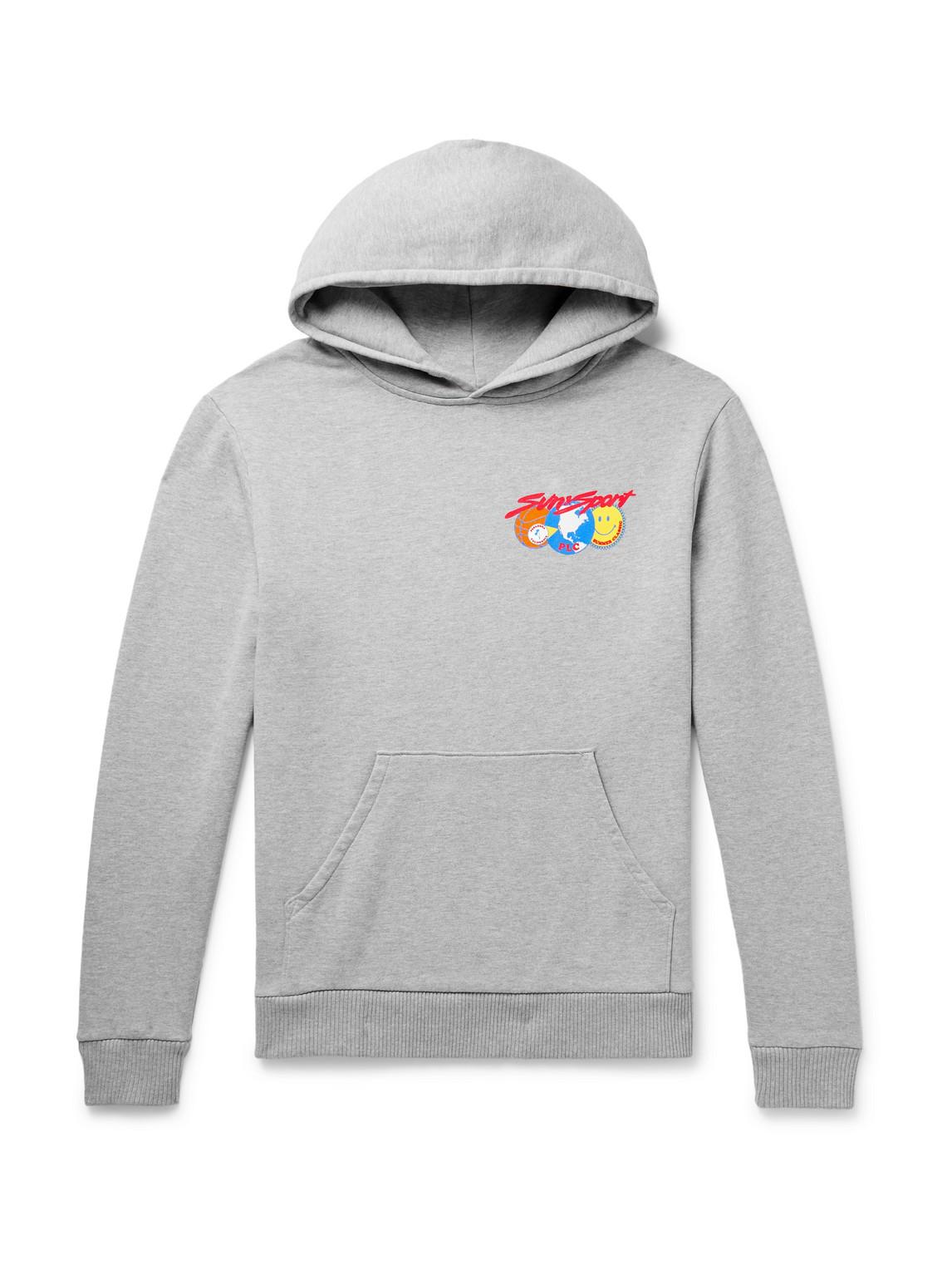 pasadena leisure club - sun amp; sport printed mélange fleece-back cotton-blend jersey hoodie - men - gray - l
