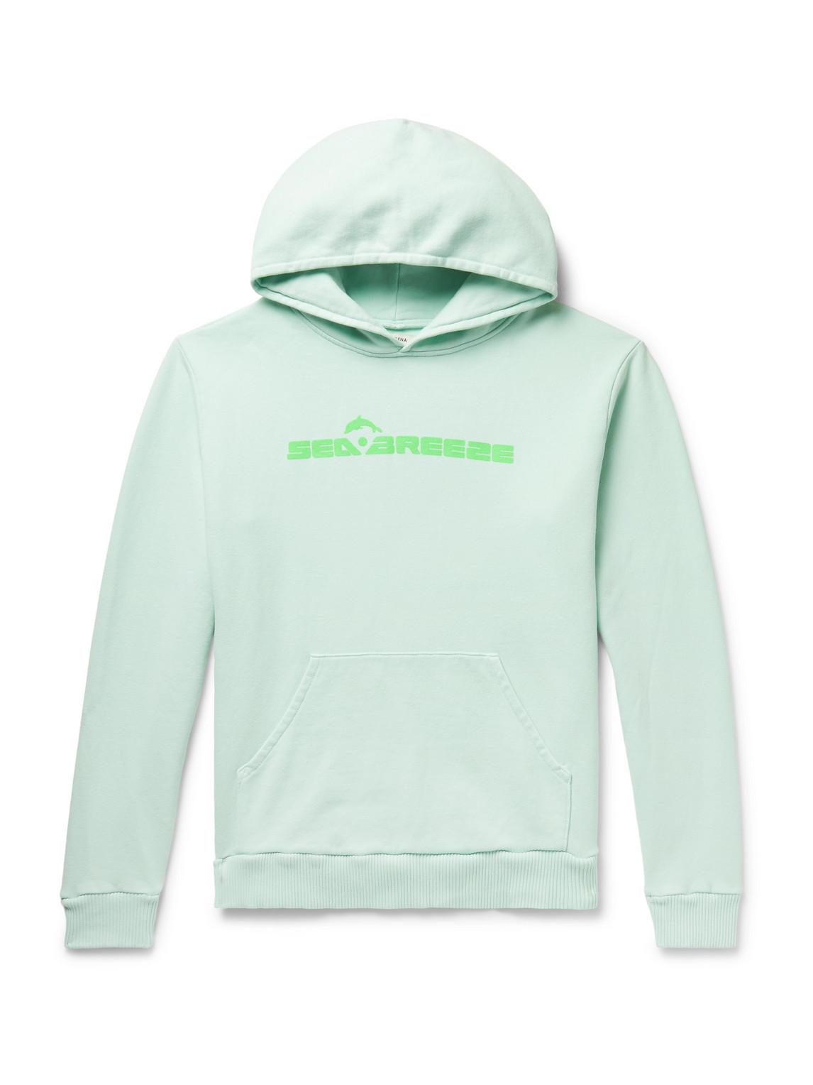 pasadena leisure club - sea breeze printed fleece-back cotton-jersey hoodie - men - green - s