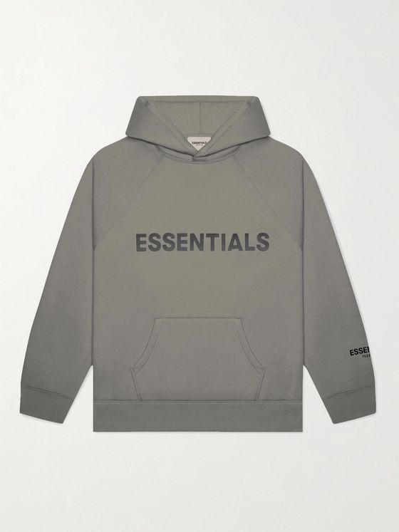 Fear of God Essentials Logo-Print Cotton-Blend Jersey Hoodie
