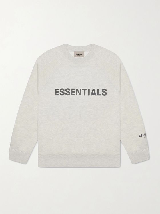 Fear of God Essentials Logo-Print Mélange Cotton-Blend Jersey Sweatshirt