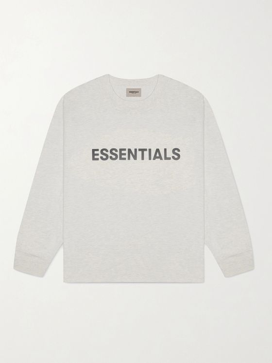 Fear of God Essentials Logo-Print Mélange Cotton-Jersey T-Shirt