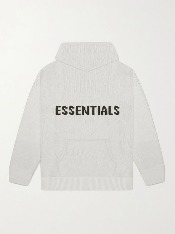 Fear of God Essentials Logo-Intarsia Mélange Cotton-Blend Hoodie