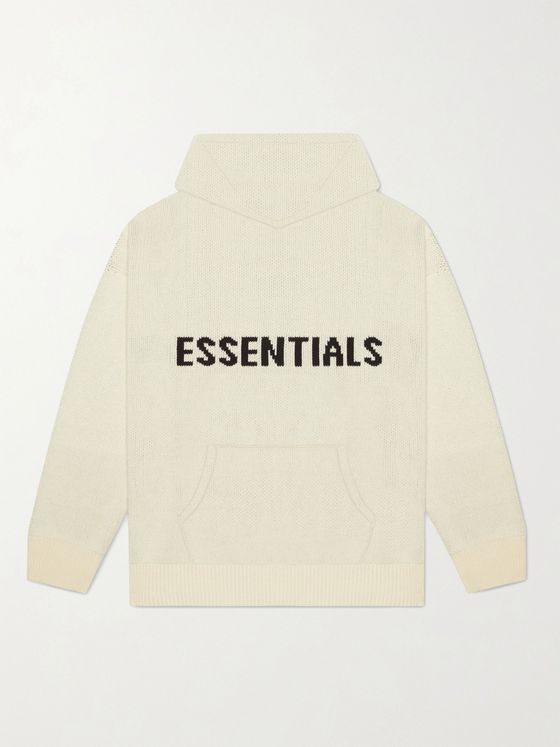 Fear of God Essentials Logo-Intarsia Cotton-Blend Hoodie