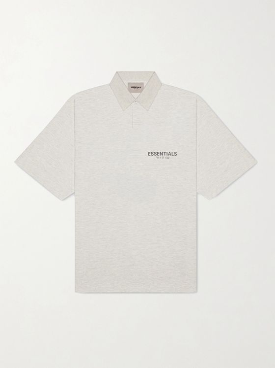 Fear of God Essentials Logo-Print Mélange Cotton-Jersey Polo Shirt